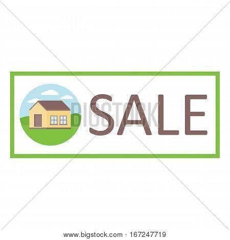 Emblem sale suburban private homes. Vector illustration.