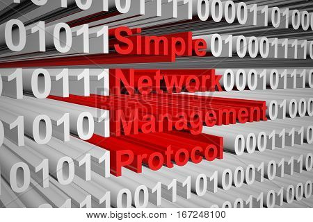 Simple Network Management Protocol in the form of binary code, 3D illustration