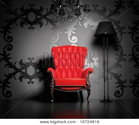 3D interior scene with classic armchair and lamp.