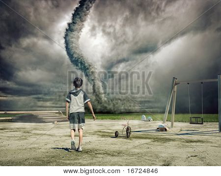 boy and approaching tornado (photo and hand-drawing elements combined)