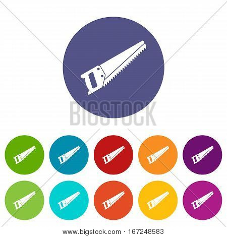 Saw set icons in different colors isolated on white background
