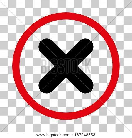 Cancel rounded icon. Vector illustration style is flat iconic bicolor symbol inside a circle, intensive red and black colors, transparent background. Designed for web and software interfaces.