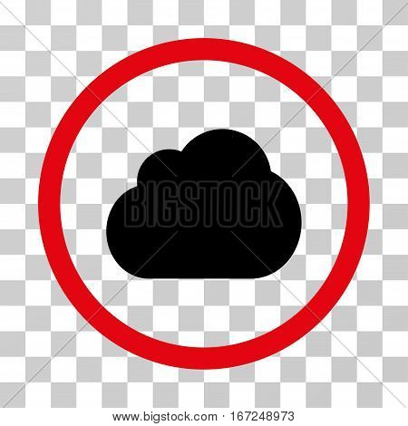 Cloud rounded icon. Vector illustration style is flat iconic bicolor symbol inside a circle, intensive red and black colors, transparent background. Designed for web and software interfaces.
