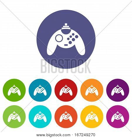 Gamepad set icons in different colors isolated on white background