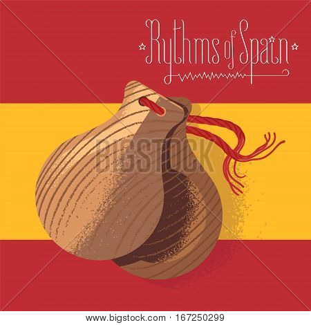 Spanish castanets vector illustration, design element on background of Spanish flag. Visit Spain concept image