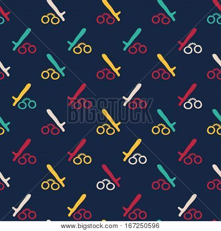 Vector hand drawn cartoon seamless pattern with handcuffs and police baton. Crime detective noir police theme. Colored crime pattern for paper textile polygraphy game web design