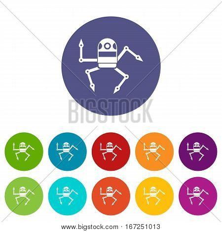 Spider robot set icons in different colors isolated on white background