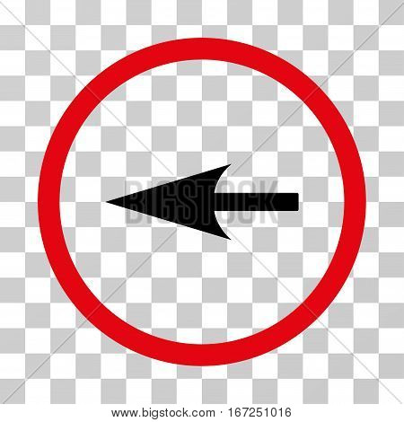Sharp Left Arrow rounded icon. Vector illustration style is flat iconic bicolor symbol inside a circle, intensive red and black colors, transparent background.