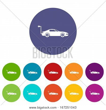 Electric car set icons in different colors isolated on white background