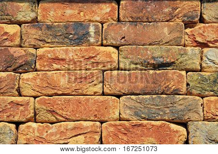 Pointing Brick Wall Copy Space. Bright Studio Closeup on Colorful Old Luxury Ceramic Clinker Brick Textured Wall Background with Copyspace.