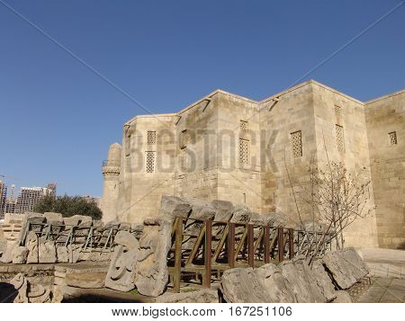 Baku. Azerbaijan. Archaeological excavations at the Palace Shirvanshah in old town poster