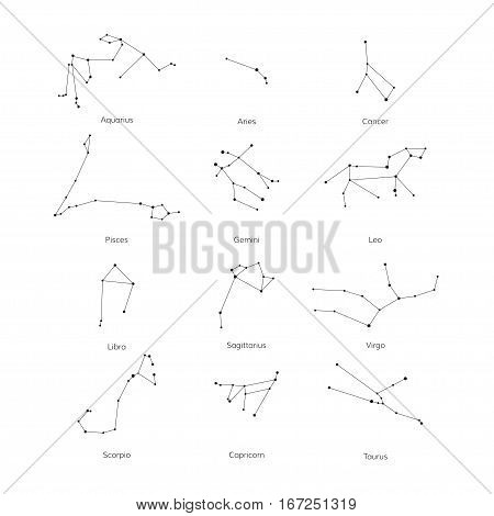 Vector set of zodiac constellation on white background. Isolated star icon for polygraphy web design logo app UI.