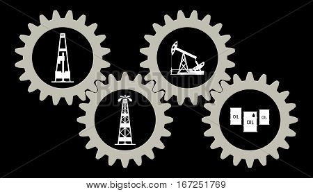 Set gears with silhouettes of the oil industry. Vector illustration.