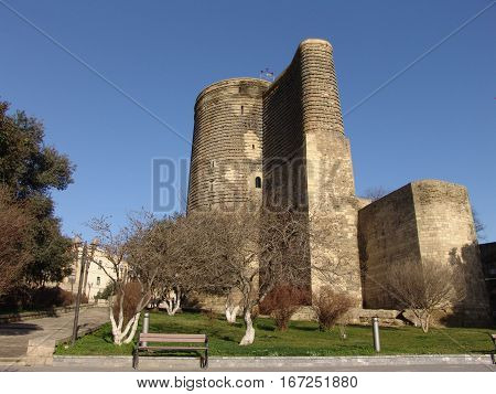View at Maiden Tower in down town of Baku. Azerbaijan poster