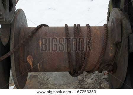 Rusty Old Boat Winch On The Dock