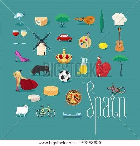 Set of icons with Spanish landmarks in vector. Jamon, Spanish bullfighter, bull, flamenco, football symbols for visit Spain collection