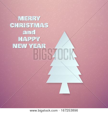 Abstract Paper Chrismas Tree on Colorful Background Vector illustration