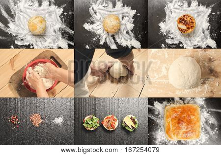 Bakery product collage. Collage of tasty different buns and bread. Tasty cooking for you. Cooking process. Concept.