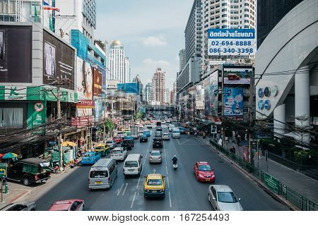 View on the busy Phetchaburi road in Bangkok, Thailand