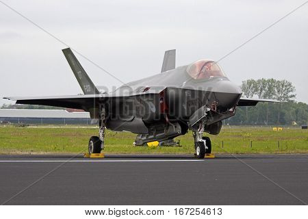 LEEUWARDEN, NETHERLANDS - JUNI 11 2016: Brand new F-35 fighter jet joint Straight replaces the F 16 at the Dutch Air Force