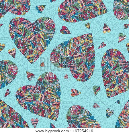 Hand drawn seamless pattern with pastel colors harts on blue background. Use for cards, invitation, wallpapers, textile, pattern fills, web pages elements and etc. Vector
