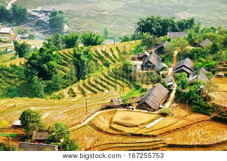 Rice Terraces Filled With Water And Roofs Of Village Houses