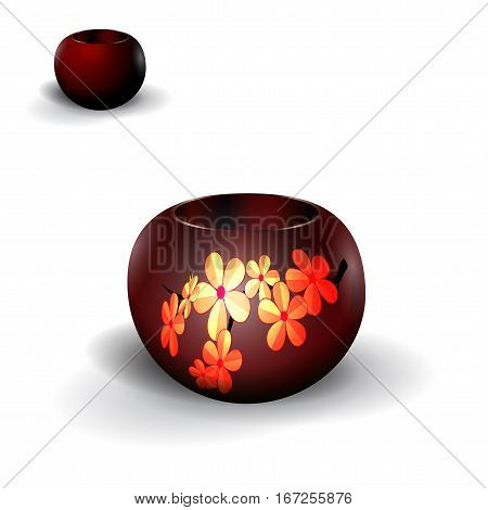 Pots, planters for flowers, Ikebana. With a picture of cherry. Isolated on white background with shadow. Vector illustration