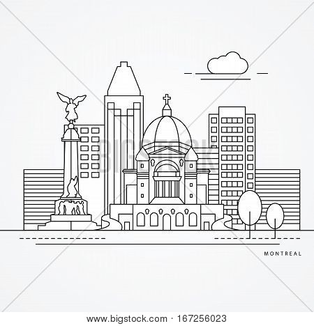 Linear illustration of Montreal, Canada. Flat one line style. Trendy vector illustration, Greatest landmark - St Joseph Oratory