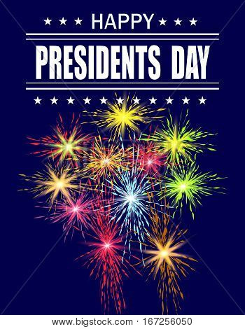 Presidents Day. Greeting card with a festive fireworks. Greeting inscription. vector illustration