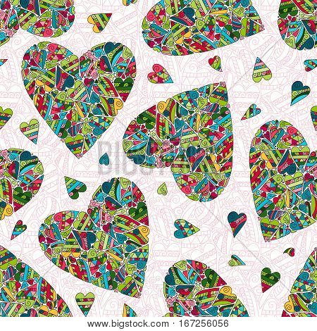 Hand drawn seamless pattern with bright colors harts on white background. Use for cards, invitation, wallpapers, textile, pattern fills, web pages elements and etc. Vector