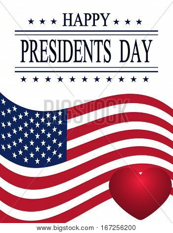 Presidents Day. Greeting card on white. Isolated. Welcome sign and a purple heart on the background of the flag. vector illustration