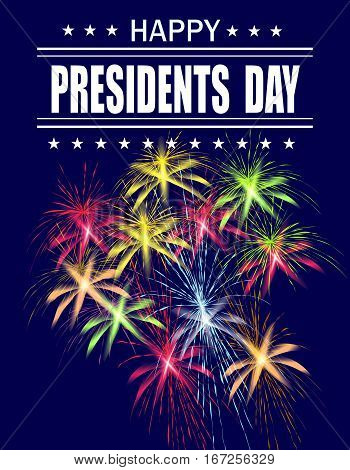 Presidents Day. Greeting card with fireworks on a blue background. Greeting inscription. vector illustration
