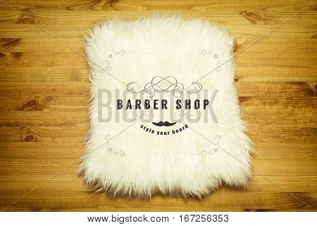 Decorative fur carpet on wood floor background