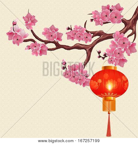 Red Chinese lanterns hanging on a branch of cherry with pink flowers. The round shape with a picture of a lotus. Vector illustration
