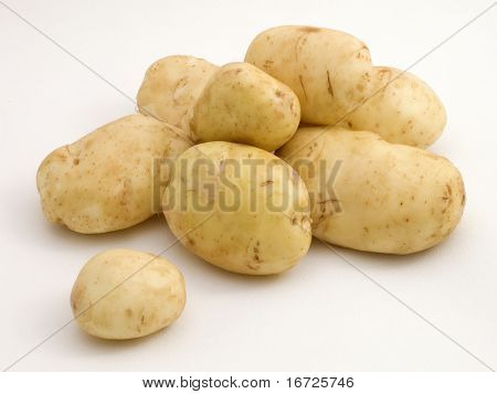 Potatoes on the white background.