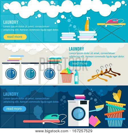 Laundry service banner washing machine ironing clothes laundry room interior