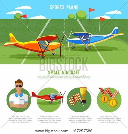 Infographics biplane aviation school flying school professional pilot competitions of airplanes and biplanes excursion flights