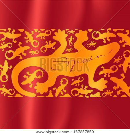 Antonio Gaudi lizard, gecko vector illustration. Spanish flag with pattern for visit Spain concept design element