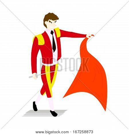Toreador in a red suit and sword with a capein style flat isolated on white background