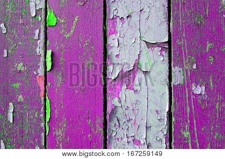 Wooden texture background with peeling texture paint - texture wooden background. Wooden texture surface with peeling paint of pink color. Wooden background