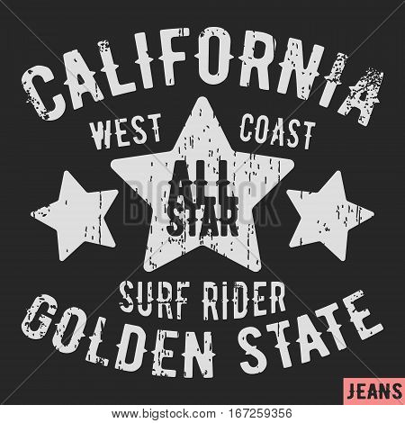 T-shirt print design. California vintage stamp. Printing and badge applique label t-shirts jeans casual wear. Vector illustration.