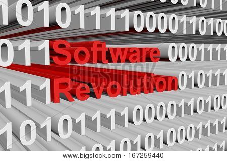 software revolution is presented in the form of binary code 3D illustration