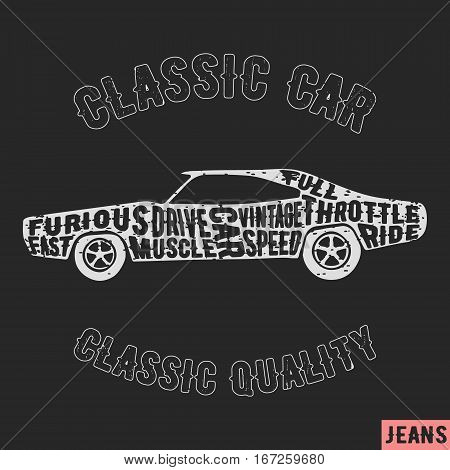 T-shirt print design. Muscle car vintage stamp. Printing and badge applique label t-shirts jeans casual wear. Vector illustration.