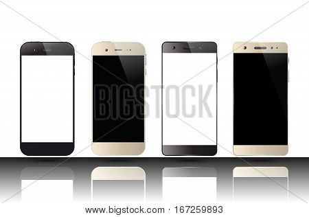 Smartphones with blank screens. Set of cell phones. Mobile phone mockup design. Vector illustration.