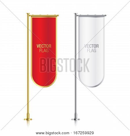 Set of red and white vector banner flag templates, hanging on a golden and silver poles. Mockups of red and white elegant vertical flags with rounded endings, isolated on a white background.