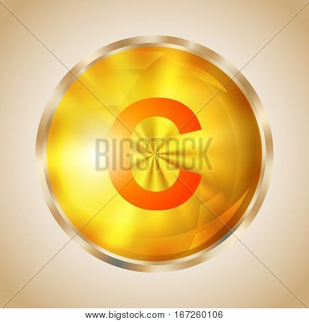 Vitamin C gold shining pill icon. Ascorbic acid capsule symbol. Vector illustration.