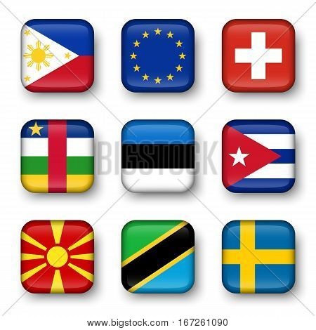 Set of world flags quadrangular badges ( Philippines . European union (EU) . Switzerland . Central African Republic . Estonia . cuba . Macedonia . Tanzania . Sweden )