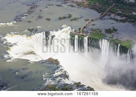 Iguassu falls from the helicopter with the view оf observation desc on Argentina side. Devil's Throat.
