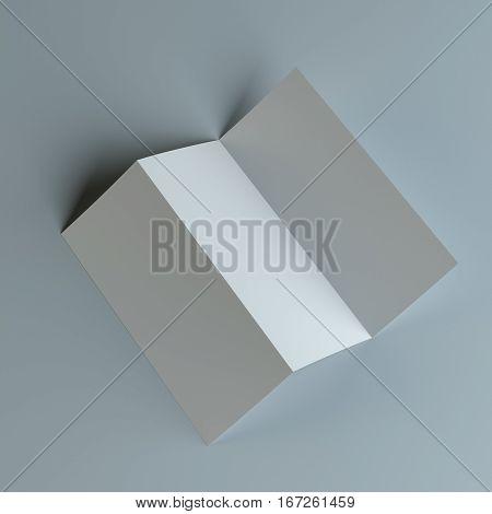 Tri-fold Brochure Leaflet Zigzag Folded. Studio Background. 3D Illustration