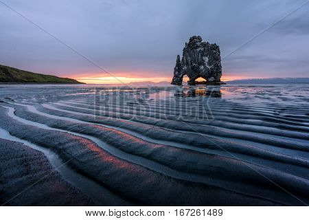 Basalt stack Hvitserkur on the Vatnsnes peninsula, Iceland, Europe.